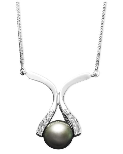 Macy's | Metallic 14k Gold Necklace, Cultured Tahitian Pearl (8mm) And Diamond Accent Pendant | Lyst