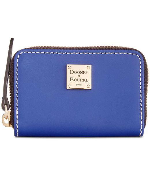 Dooney & Bourke - Blue Beacon Zip Around Smooth Leather Credit Card Case - Lyst