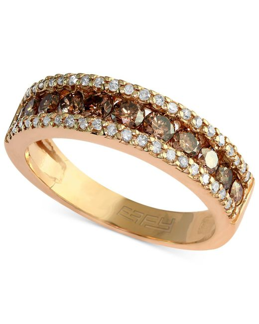 Effy Collection - Metallic Brown And White Diamond Three-row Ring (7/8 Ct. T.w.) In 14k Gold - Lyst