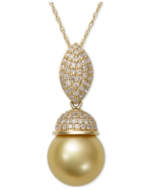 Macy's - Metallic Cultured Golden South Sea Pearl (9mm) And Diamond (3/8 Ct. T.w.) Pendant Necklace In 14k Gold - Lyst