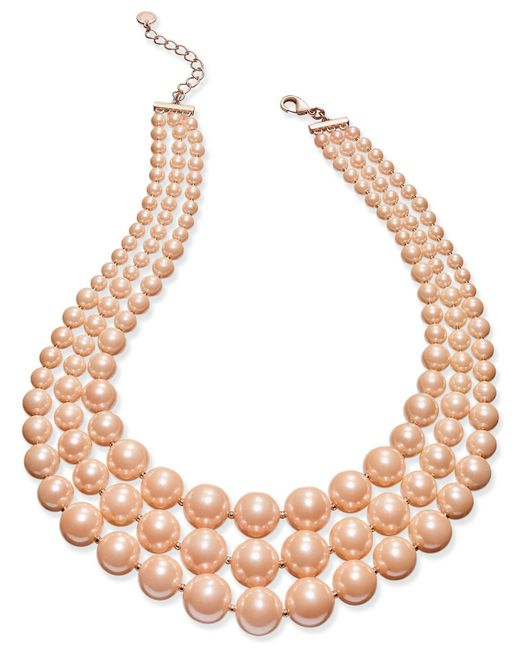 Charter Club | Pink Imitation Pearl Three-row Collar Necklace | Lyst