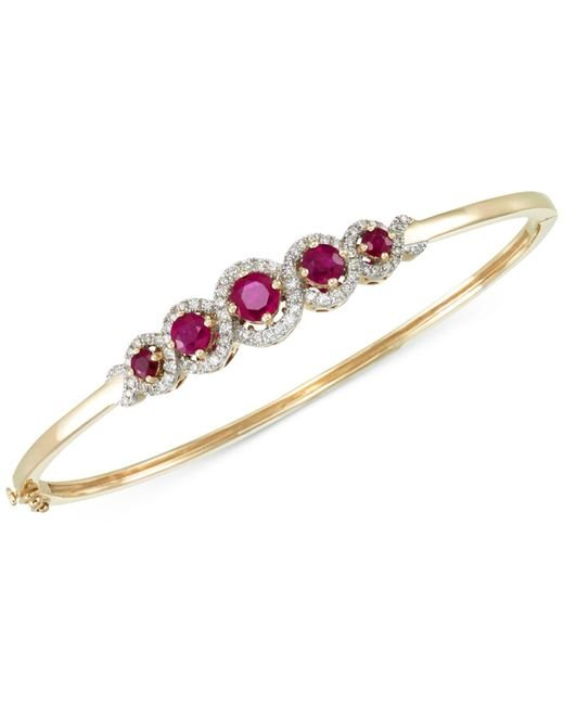 Rare Featuring Gemfields - Metallic Certified Ruby (1-3/4 Ct. T.w.) And Diamond (1/2 Ct. T.w.) Bangle Bracelet In 14k Gold - Lyst