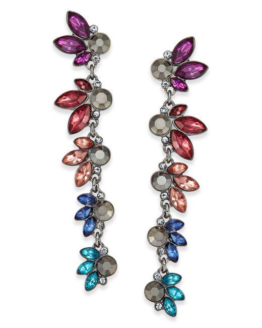 INC International Concepts | Multicolor Hematite-tone Multi-stone Linear Drop Earrings | Lyst