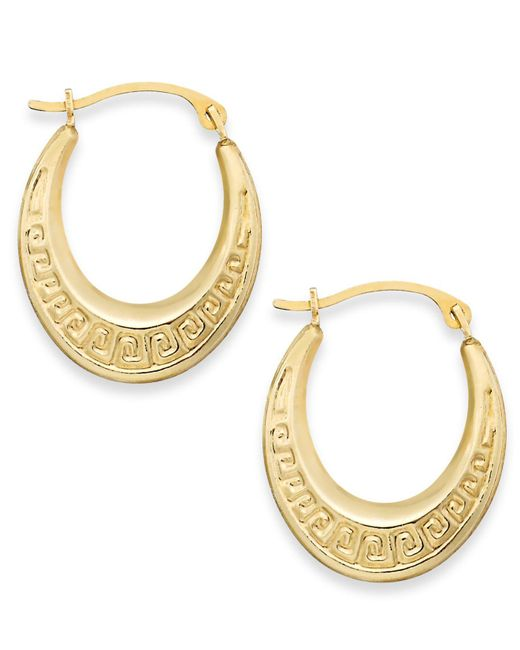 Macy's - Metallic 10k Gold Earrings, Greek Key Hoop Earrings - Lyst