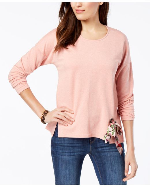 Style & Co. - Pink Petite Tie-hem Top, Created For Macy's - Lyst