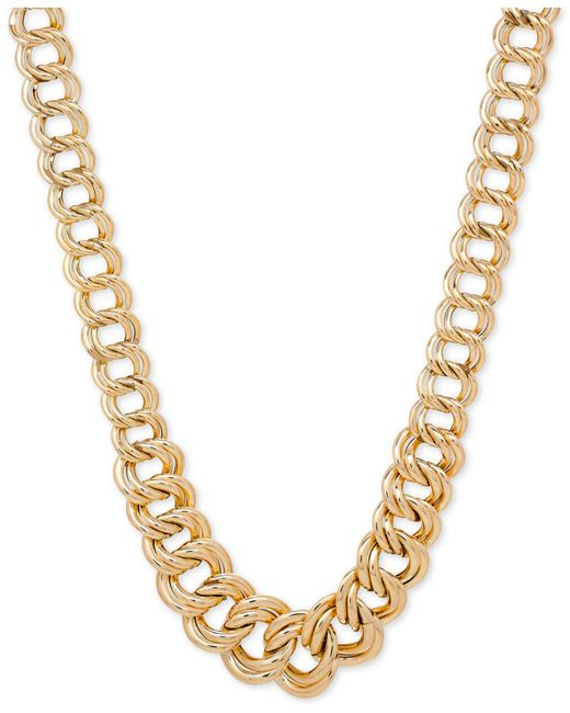 Macy's - Metallic Double Ring Graduated Link Statement Necklace In 14k Gold - Lyst