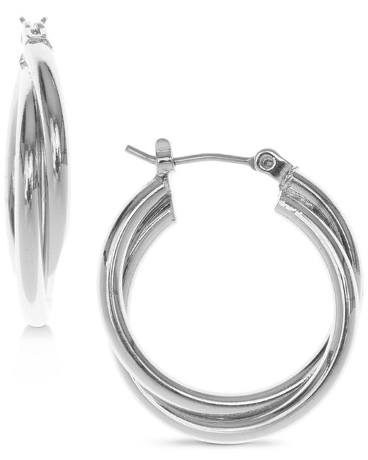 Nine West - Metallic Silver-tone Twisted Hoop Earrings - Lyst