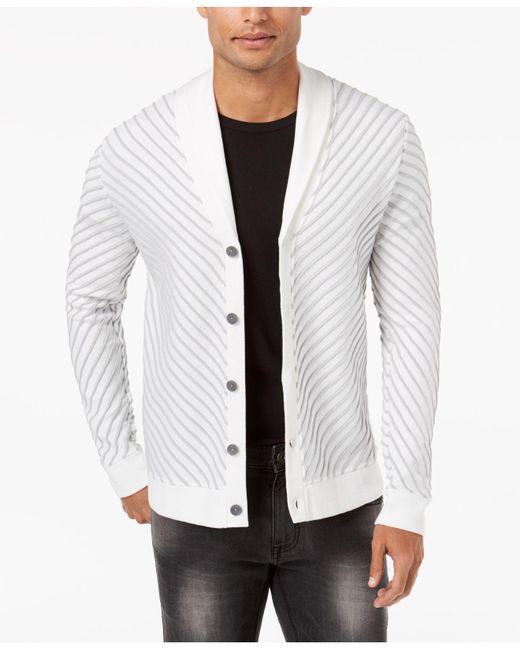 INC International Concepts | White Men's Textured Cardigan for Men | Lyst