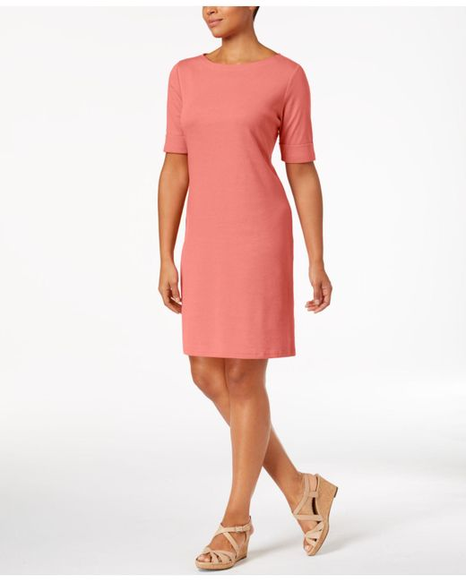 Karen Scott Pink Cotton Boat-neck Dress, Created For Macy's