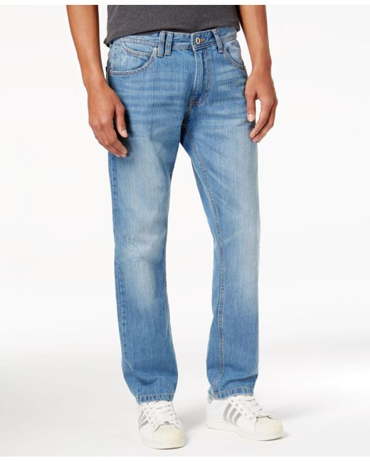 Sean John | Blue Men's Relaxed-fit Straight-leg Destroyed Jeans for Men | Lyst
