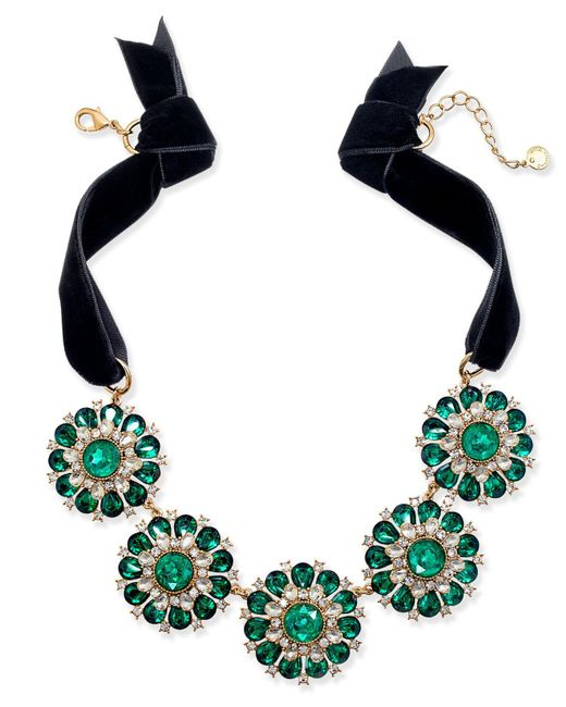 Charter Club | Metallic Gold-tone Green & Clear Crystal Black Velvet Statement Necklace | Lyst