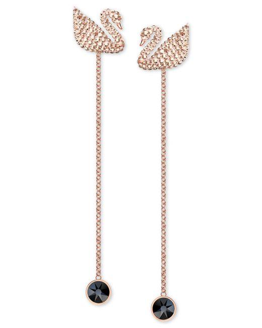 Swarovski - Pink Rose Gold-tone Crystal Swan Ear Jacket Earrings - Lyst