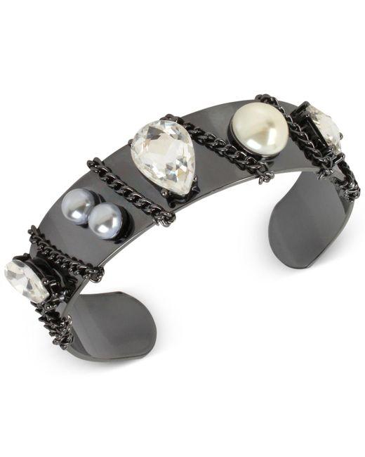 INC International Concepts   Black Crystal Chain Cuff Bracelet   Lyst