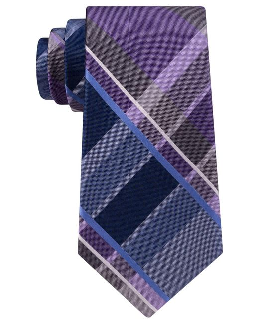 Michael Kors | Purple Men's Playful Plaid Silk Tie for Men | Lyst