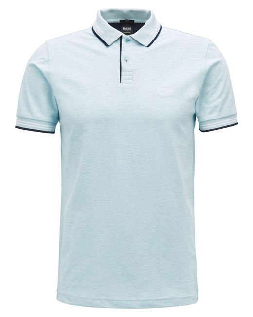 BOSS - Blue Slim-fit Stretch Polo for Men - Lyst