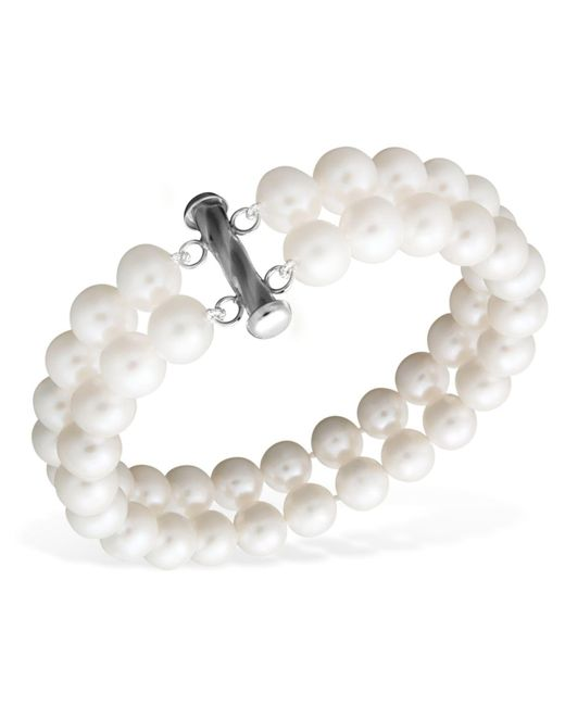 Macy's - Multicolor Pearl Bracelet, Sterling Silver Cultured Freshwater Pearl Two Row (8-1/2-9-1/2mm) - Lyst