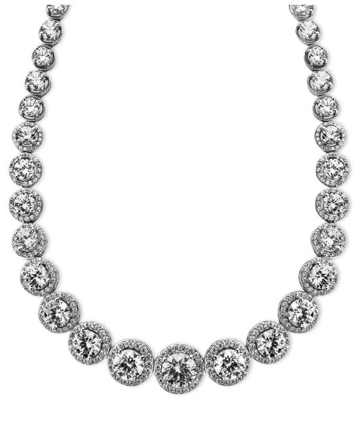 Arabella - Metallic Sterling Silver Necklace, Swarovski Zirconia Necklace (55-1/3 Ct. T.w.) - Lyst