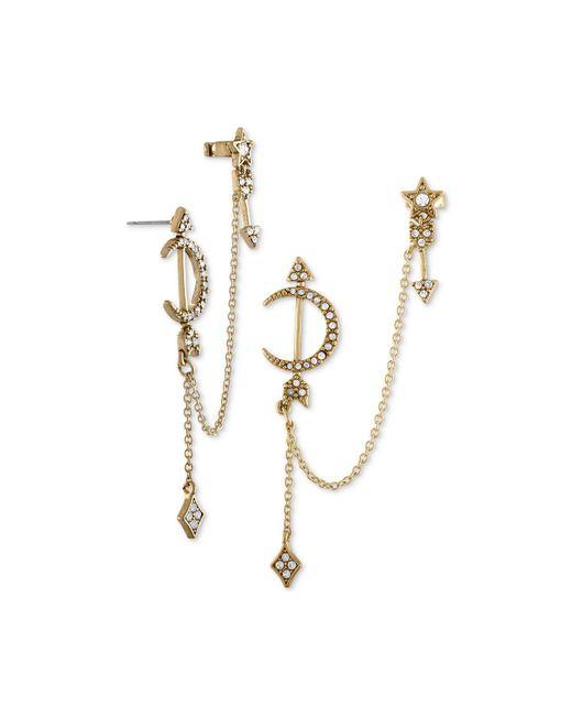 RACHEL Rachel Roy - Metallic Gold-tone Pavé Moon & Star Chain Cuff Earrings - Lyst