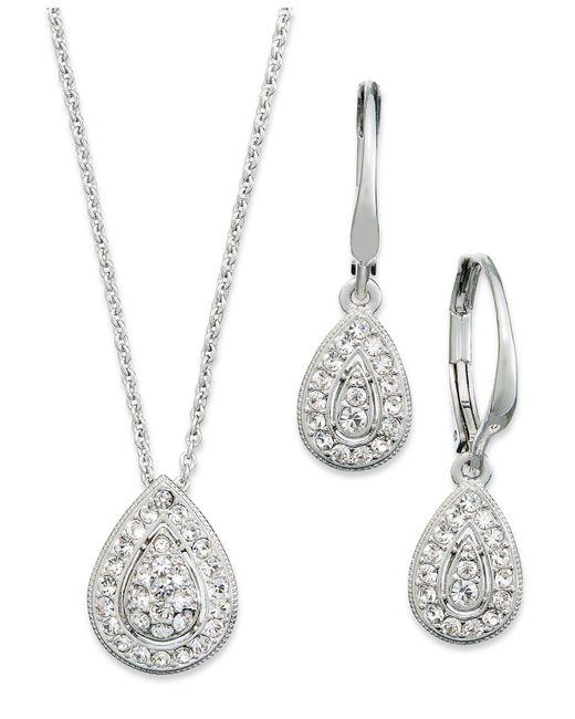 Danori - Metallic Jewelry Set, Rhodium-plated Crystal Teardrop Earrings And Pendant Necklace - Lyst