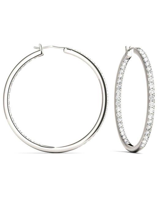 Charles Colvard Metallic Moissanite Hoop Earrings 2 1 3 Ct