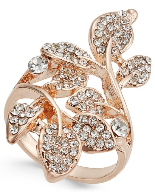 INC International Concepts - Metallic Rose Gold-tone Pavé Multi-leaf Ring - Lyst