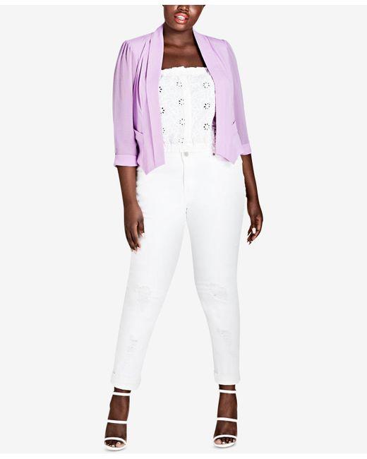 City Chic - Purple Trendy Plus Size Pleated Blazer - Lyst