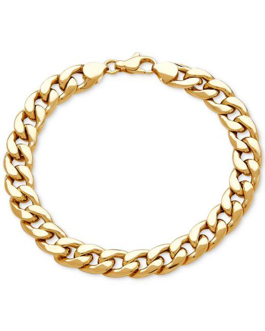 Macy's - Metallic Men's Heavy Curb Link Bracelet In 10k Gold - Lyst