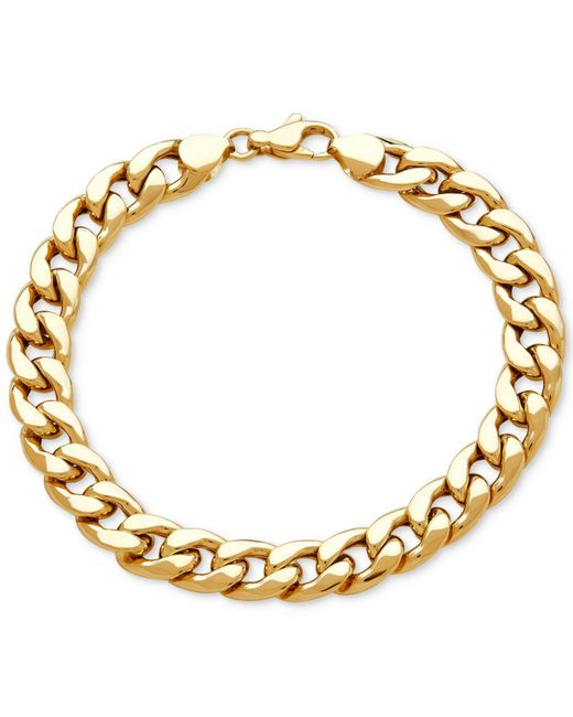 Macy's | Metallic Men's Heavy Curb Link Bracelet In 10k Gold | Lyst