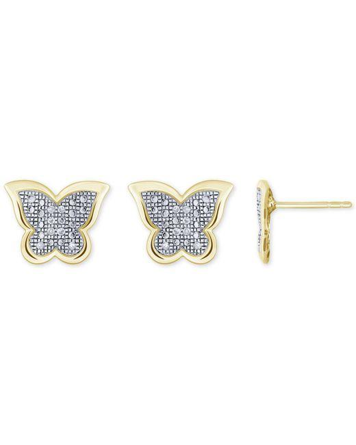Macy's - Metallic Diamond Accent Butterfly Stud Earrings In 10k White, Yellow Or Rose Gold - Lyst