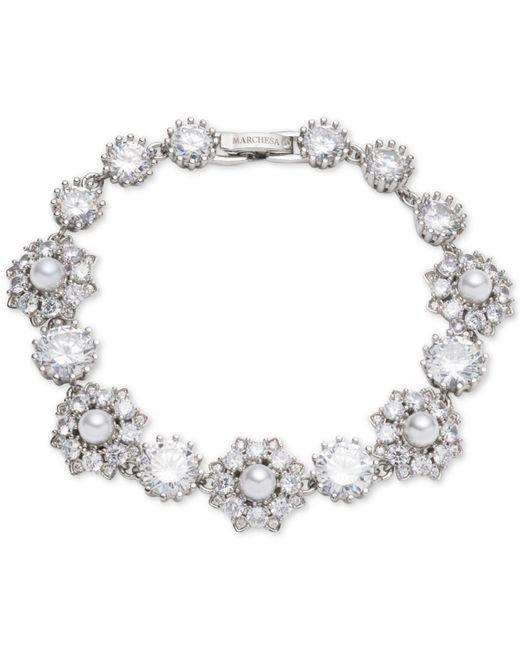 Marchesa - Metallic Silver-tone Crystal & Imitation Pearl Flex Bracelet, Created For Macy's - Lyst