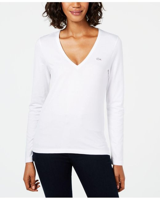 Lacoste - White Cotton V-neck Top - Lyst