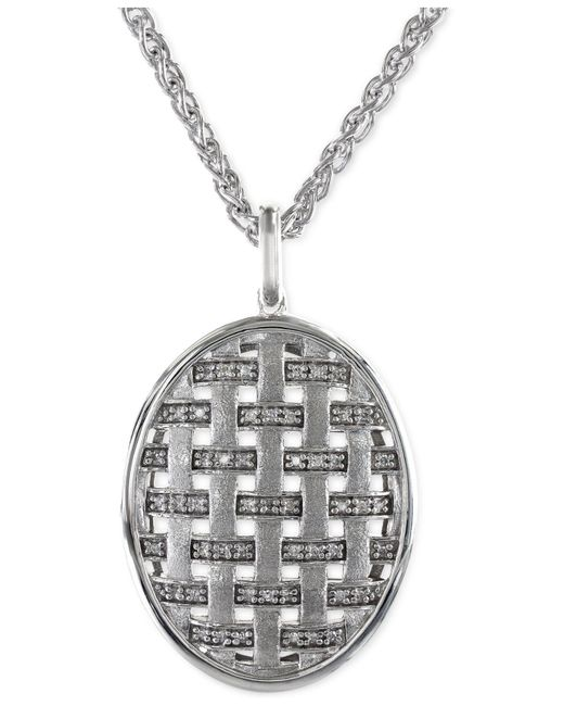 Effy Collection - Metallic Diamond Oval Pendant Necklace In 14k White Gold (1/5 Ct. T.w.) - Lyst