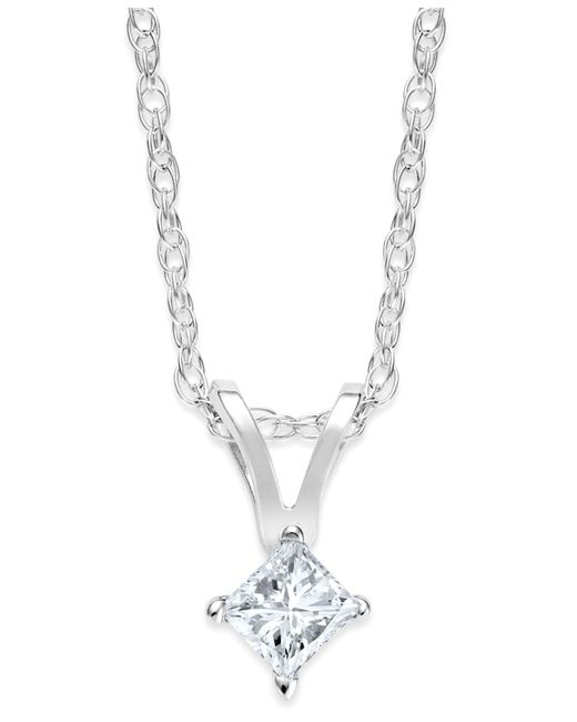 Macy's - Metallic Princess-cut Diamond Pendant Necklace In 10k Gold (1/10 Ct. T.w.) - Lyst