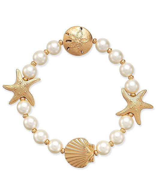 Charter Club - Metallic Gold-tone Imitation Pearl Sea Motif Stretch Bracelet - Lyst