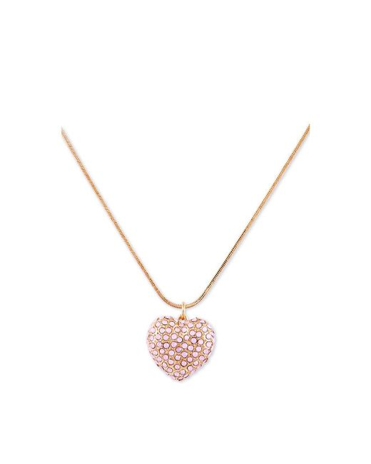 "Guess - Metallic Crystal Heart Long Pendant Necklace, 32"" + 2"" Extender - Lyst"