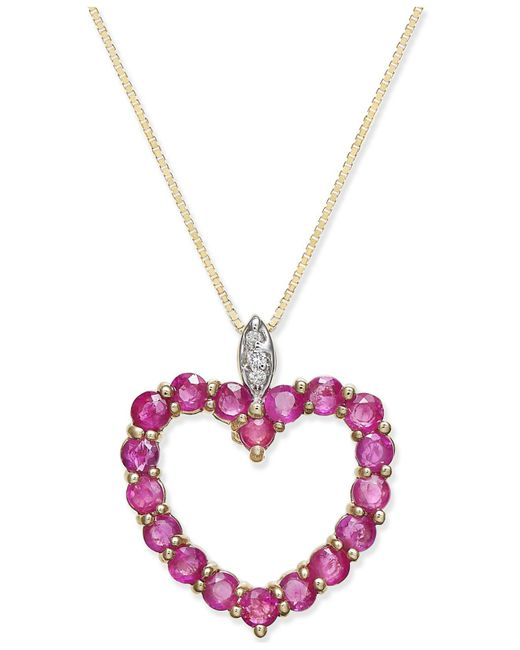 Macy's - Metallic Ruby (1-3/4 Ct. T.w.) And Diamond Accent Heart Pendant Necklace In 14k Gold - Lyst
