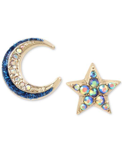 Betsey Johnson   Blue Celestial Moon And Star Mismatch Earring Set   Lyst