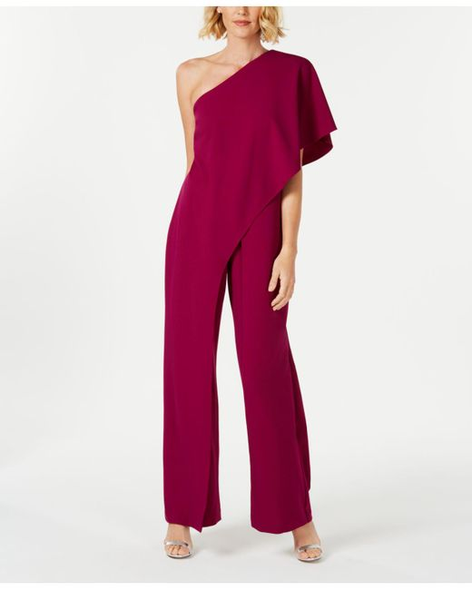 e481c1a571e1ce Adrianna Papell Petite Draped One-shoulder Jumpsuit in Red - Save 29 ...