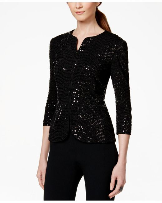 Alex Evenings - Black Sequined Jacket And Shell - Lyst