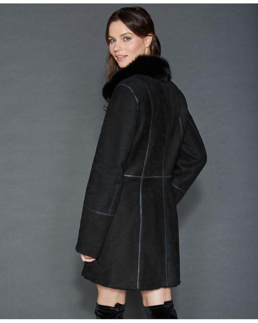 ddc27b055de ... The Fur Vault - Black Fox-trim Shearling Coat - Lyst