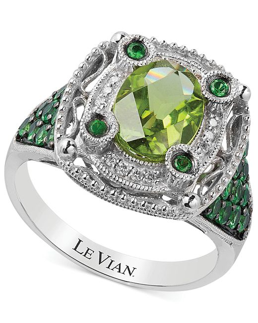 Le Vian | Green Multi-stone And Diamond Accent Ring In 14k White Gold (2-1/3 Ct. T.w.) | Lyst