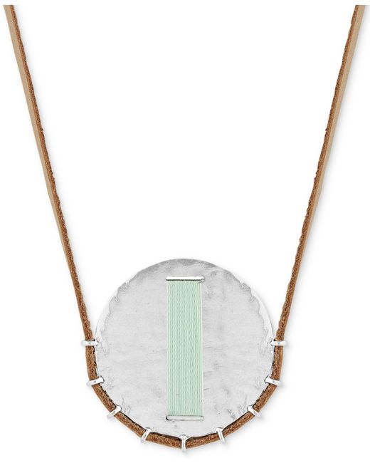 "Lucky Brand - Metallic Silver-tone Thread-wrapped Disc Leather Cord 33"" Pendant Necklace - Lyst"