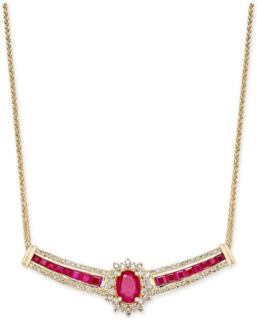Macy's | Metallic Ruby (3 Ct. T.w.) And Diamond (3/4 Ct. T.w.) Fancy Collar Necklace In 14k Gold | Lyst