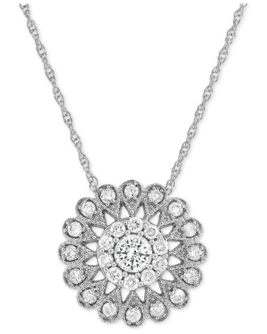 Macy's | Multicolor Diamond Flower Pendant Necklace (1/2 Ct. T.w.) In 14k White Gold | Lyst