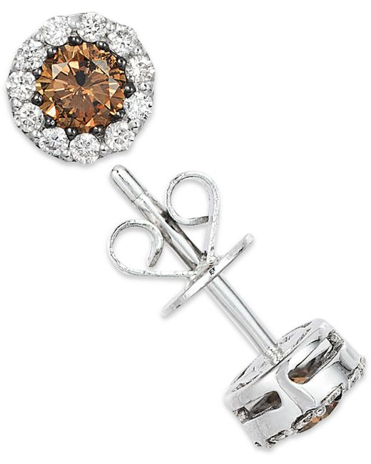 Le Vian - White And Chocolate Diamond Stud Earrings In 14k White Gold (1/2 Ct. T.w.) - Lyst