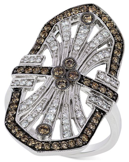 Le Vian - Metallic Chocolate And White Diamond Deco Ring (9/10 Ct. T.w.) In 14k White Gold - Lyst