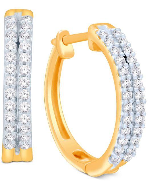 Macy's - Metallic Diamond Two-row Hoop Earrings (1/2 Ct. T.w.) In 14k Gold Or White Gold - Lyst