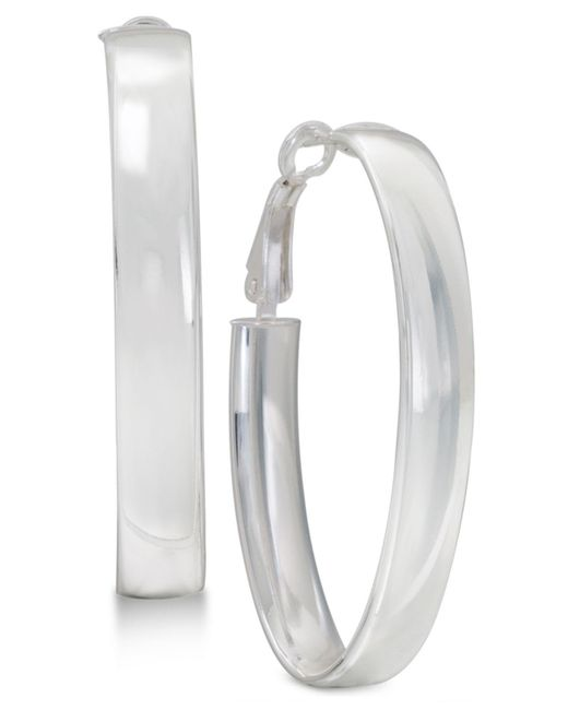 Macy's - White Large Polished Oval Hoop Earrings In Sterling Silver - Lyst