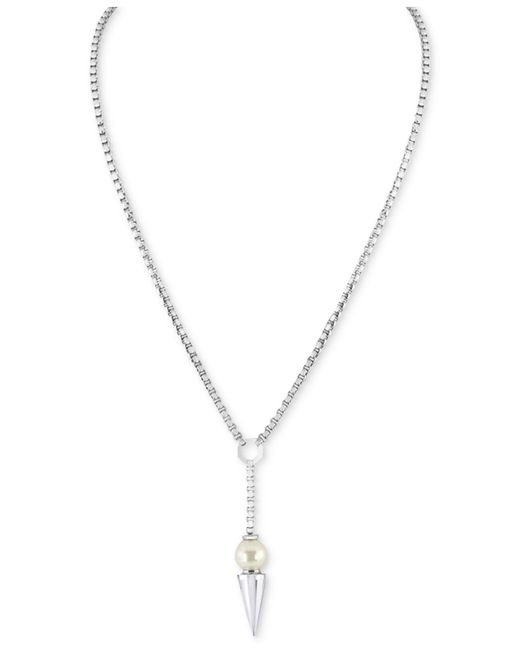 Majorica | Metallic Silver-tone Imitation Pearl Spiked Lariat Necklace | Lyst