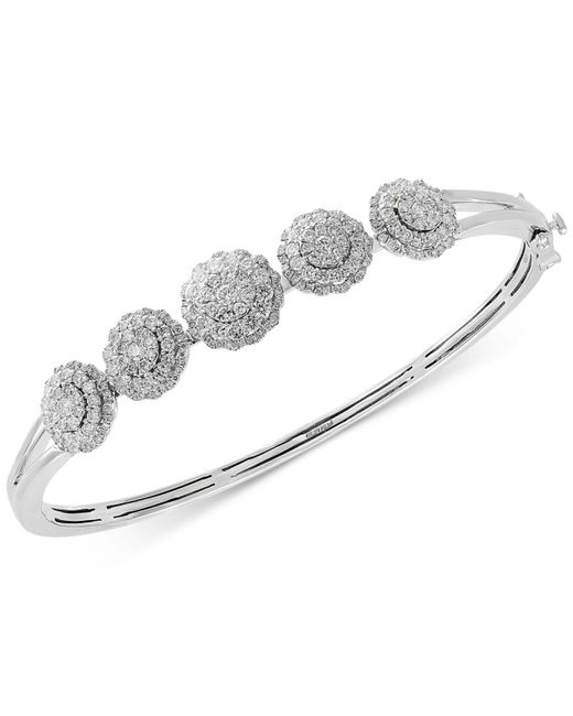 Effy Collection - Metallic Effy® Diamond Floral Bangle Bracelet (1-5/8 Ct. T.w.) In 14k White Gold - Lyst